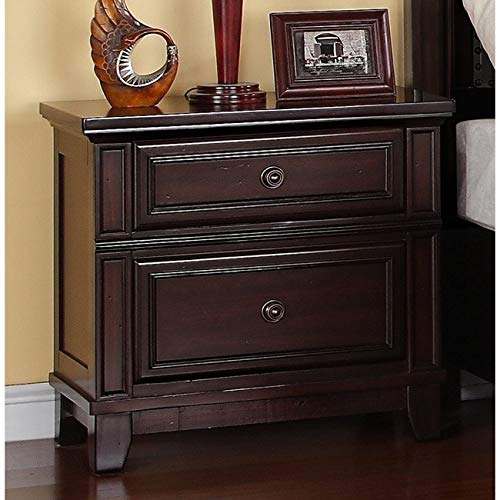 Classic Nightstand Rich Espresso Finish and Antiqued Knobs Brown Color Durable Made of Solid Hardwood Cherry Veneers MDF