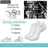 Zisuper Womens Low Cut Ankle Athletic Socks No Show Sport Breathable Cotton Tab Sock 6 Pack