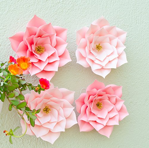KEIRA PRINCE CRAFTS Paper Flowers, Beautiful Handmade Set of 4 Pink Flowers 20cm/8inch (Pink)