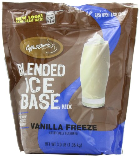 Caffe D Amore Frappe Base Mix, Vanilla Freeze, 3-Pound - Flavored Blended Ice Coffee