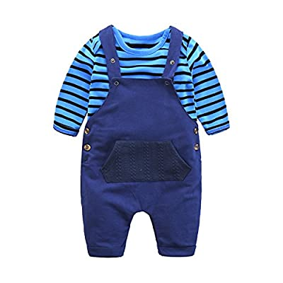 Boarnseorl Newborn Baby Boy Suspender Clothing Set Navy Stripes Cotton Long Sleeve Outfit