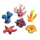 CM COSMOS 6 Pcs Multicolor Artificial Coral Plant Aquarium Fish Tank Decorative Fake Coral Sea Star Hiding Reef Ornament