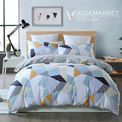 Vougemarket Diamond Pattern Duvet Cover Set Queen,100% Cotton Geometric Duvet Cover matching with 2 Pillowcases-Full/Queen,Diamond (Duvet Covers Pillowcase)