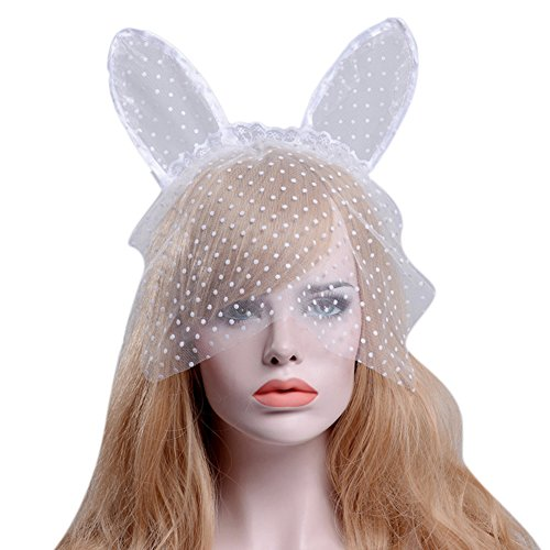 Gerilea White Rabbit Bunny Ears Hair Bands Lace