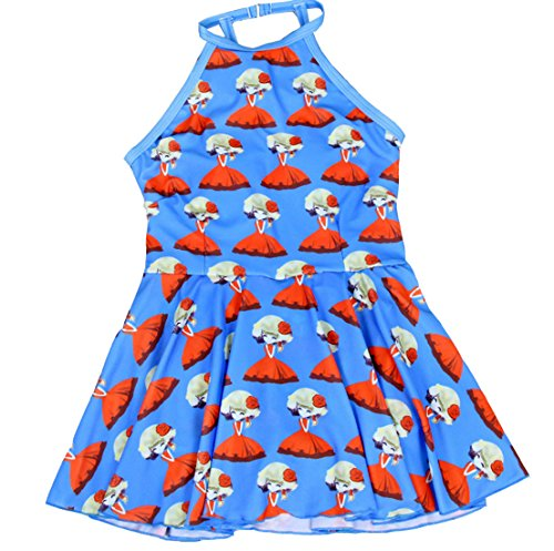 Swimwear Bleu Acvip Fille Bain Manche Maillot Enfant Sans Cartoon Robe Bretelle De BzwPOB