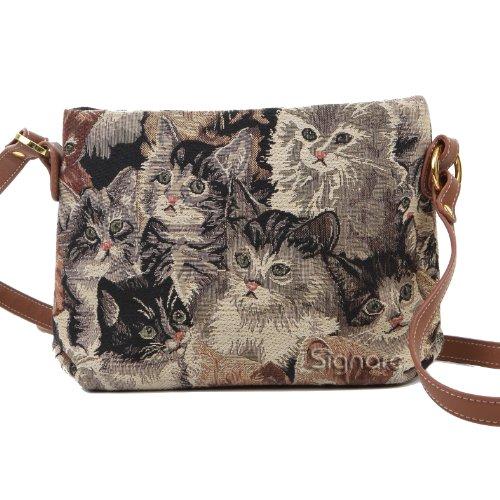 Signare Womens Tapestry Fashion Shoulder Handbag Across Body Bag in Cat Design