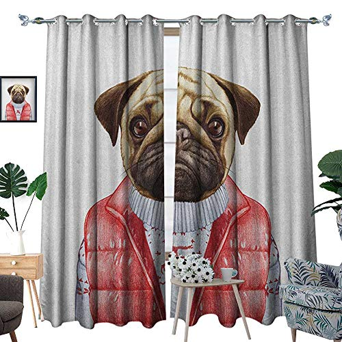 Warm Family Pug Window Curtain Fabric Red Vest and Christmas Sweater on a Adorable Dog Hand Drawn Animal Fun Image Drapes for Living Room W96 x L84 Pale Brown Red White