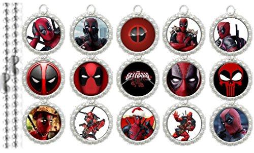 15 Deadpool Silver Bottle Cap Pendant Necklaces Set 1 -