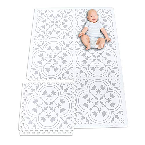 Premium Stylish Foam Baby Mat, Extra Large and Thick Floor Tiles, 72 by 48 Inches, Easily Expandable, Non-Toxic, Spill Resistant, Easy-to-Clean, White and Gray 6 Tiles Set