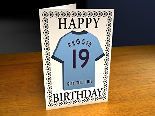 Manchester City F.C - PERSONALISED Greetings Card (MAGNET)