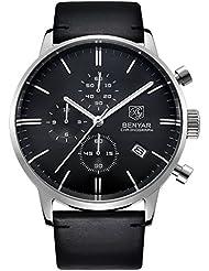 BENYAR Japanese Quartz Chronograph Waterproof Wrist Watches Business Gentleman Black Leather Band Strap (Silver...