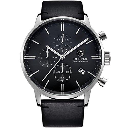 Gentlemans Chronograph Watch Black Dial (BENYAR Japanese Quartz Chronograph Waterproof Wrist Watches Business Gentleman Black Leather Band Strap (Silver Black))