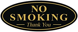 All Quality Oval NO Smoking Thank You Sign - Black/Gold Small