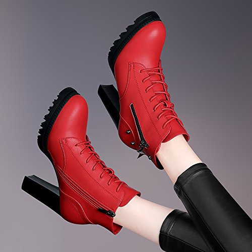 KHSKX-Ms. Martin Thick Bottomed With High-Heeled Boots Side Zipper Boots Thirty-nine QBPuHVKUn