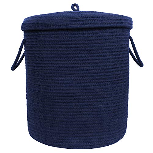 Navy Blue Baskets (INDRESSME Hamper with lid 25.6