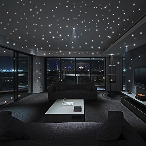 AMA(TM) Glow In The Dark Star Wall Stickers 407Pcs Round Dots Luminous Home Decor for Kids Room (Green)