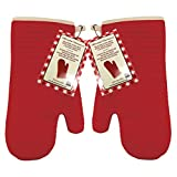 Marathon Housewares KW030018RD Silicone Oven Mitt with Quilted Lining in Red, Set of 2