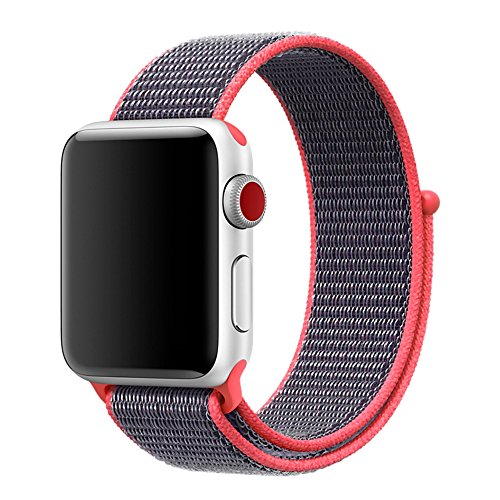 38mm Soft Woven Nylon Watch Sport Loop Band Breathable Replacement iWatch Band with Adjustable Closure for Apple Watch Nike+ Series 3 2 1,Electric Pink (Electric Band)