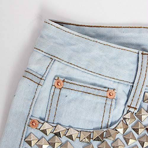 Punk Moda Hot Unici Rivetto S Vita Stile Alta Nappa Personalità Donna Denim Size Caldi Studente In Estate Blue Sexy Pantaloni Pantaloncini Blue Xiuzp color wUTqvzn