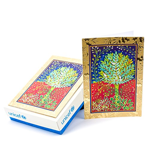 Hallmark UNICEF Christmas Boxed Cards (Peaceful Holly Tree, 20 Christmas Greeting Cards and 21 Envelopes)