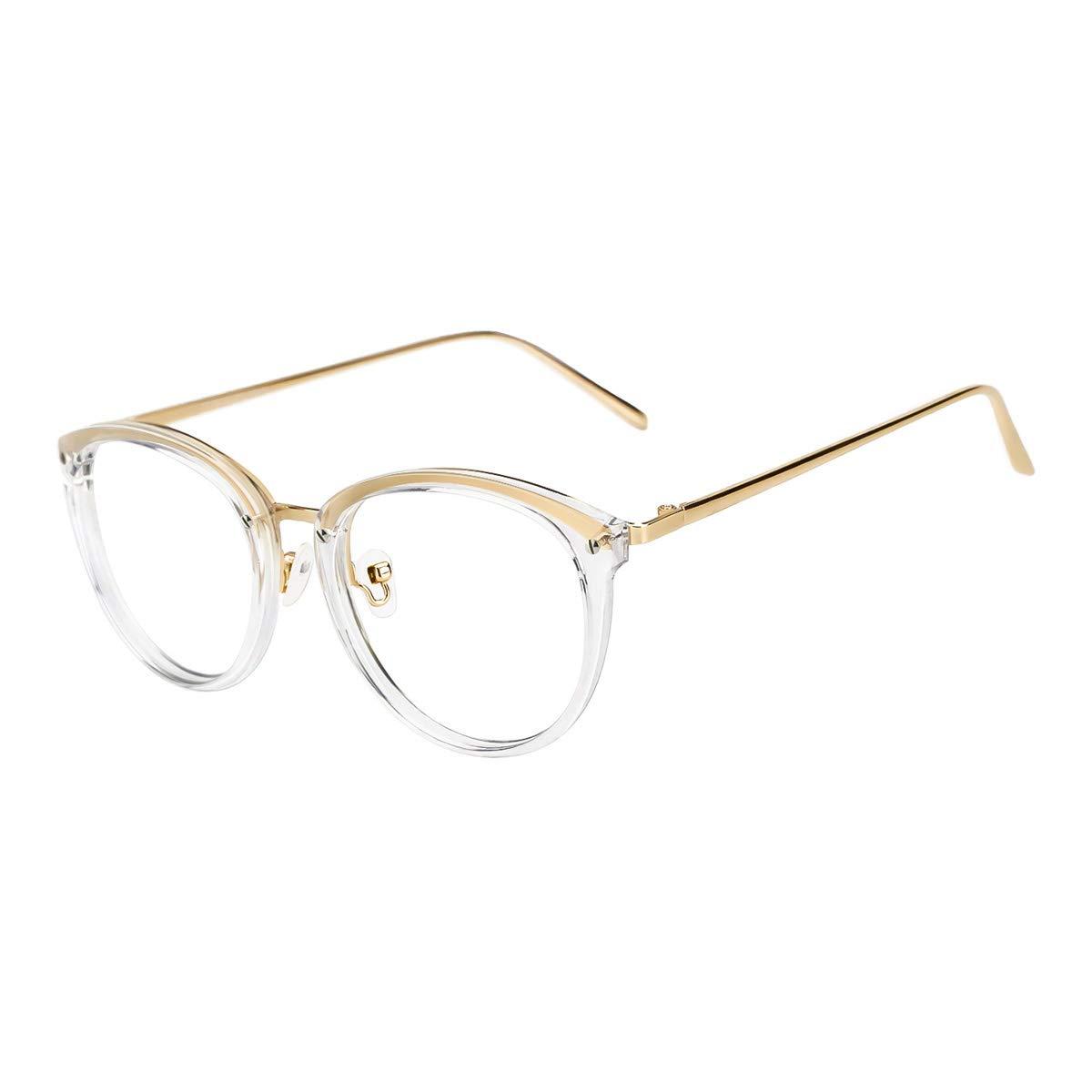 Vintage Round Eyewear Frame Non-prescription Glasses Clear Lens Eyewear