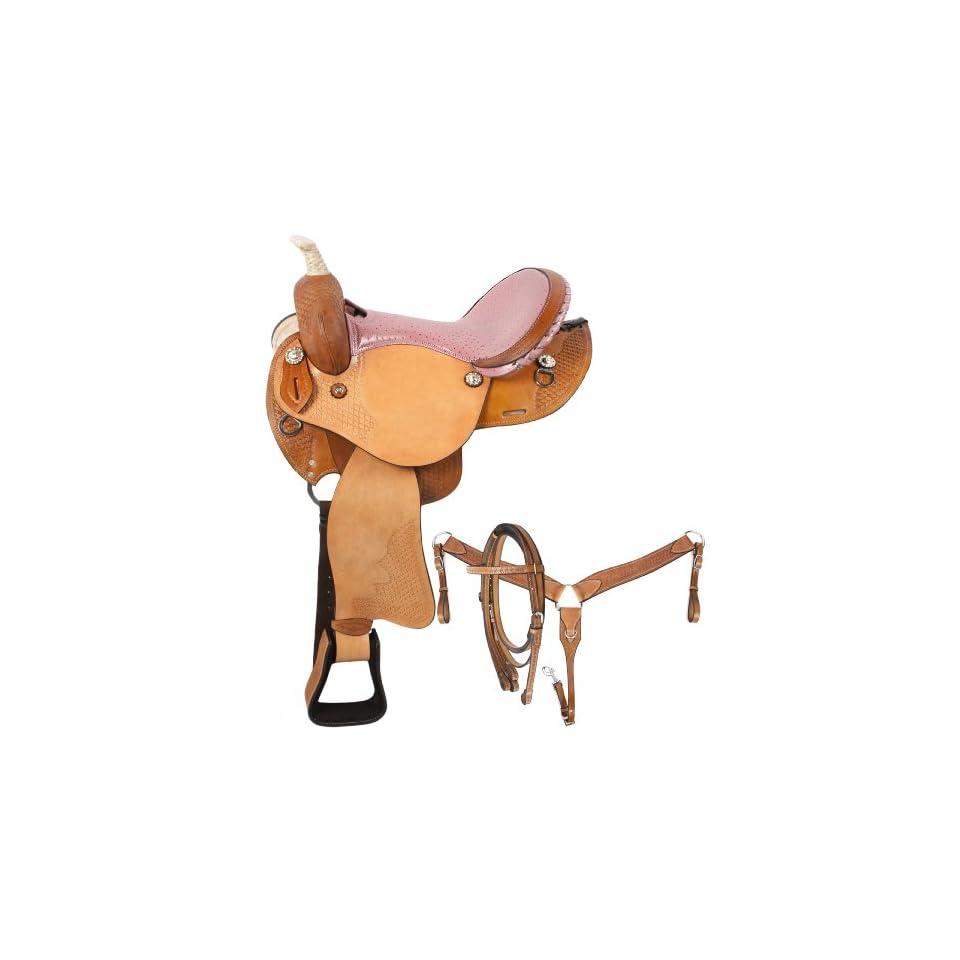 Barrel Racing Pink Ostrich Horse Western Saddle Tack 14 16