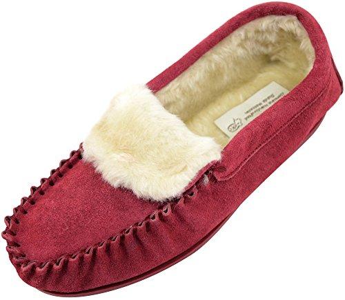 Mocassini / Pantofole In Pelle Di Pecora Scamosciata Da Donna / Donna Con Suola In Gomma Color Cremisi