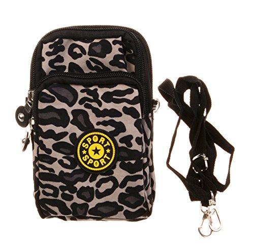 KISS GOLD(TM) Dual-Use Sporty Nylon Cellphone Pouch Mini Shoulder Bag Wristlet (Leopard (Dual Use Handbag)