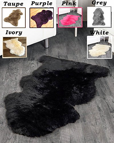 Homemusthaves 2x3 Feet Faux Sheepskin Rug Carpet Shaped (Black)