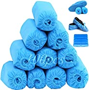 Blue Shoe Covers Disposable,400G/100 Pack(50 Pairs) Non-Woven Booties,Non-Slip,Durable Leakproof for Indoor/Ou