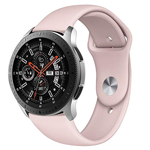 Kmasic Sport Band Compatible Samsung Galaxy Watch 46mm, Gear S3 Band, Soft Silicone Strap Replacement Wristband Compatible Samsung Galaxy Watch SM-R800NZSAXAR Smart Fitness Watch, Small, Sand Pink