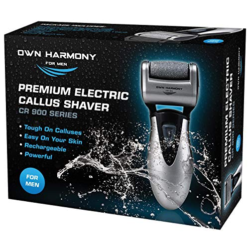 Rough Skin Remover - Callus Remover: Electric Rechargeable Pedicure Tools for Men by Own Harmony -3 Rollers (Tested Powerful) Best Foot File, Professional Spa Electronic Micro Pedi Feet Care Perfect for Hard Cracked Skin