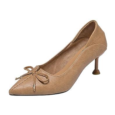 fbc941fc713cd1 Yudesun Escarpins Chaussures Stiletto Femmes - Sandales Escarpin  Confortable Elégant Bow Mariage Peignent Talons Hauts Cuir