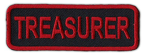 Motorcycle Biker Jacket/Vest Embroidered Patch - Treasurer - Rank, Position, Member Status - Red and Black (Biker Vest Jacket)