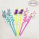 Unicorn Party Favors - Premium Quality Reusable Unicorns Twister Jumbo Drinking Straws (24PC Set)