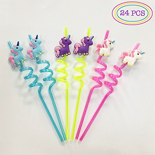 Unicorn Party Favors - Premium Quality Reusable Unicorns Twister Jumbo Drinking Straws (24PC Set) by Partyverse