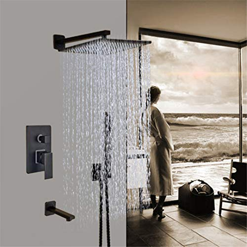Black Brass 12 Inch Shower Set Faucets Rain Shower Head with Shower Arm with H Shower Mixer Tap