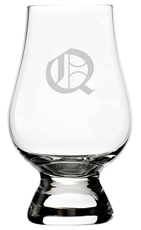 Old English Etched Monogram Glencairn Crystal Whisky Glass Letter Q