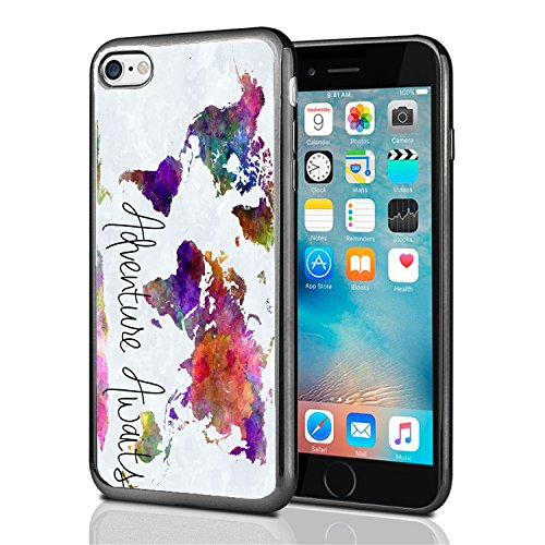 Adventure Awaits Watercolor Map for iPhone 7 (2016) & iPhone 8 (2017) Case Cover by Atomic Market from Atomic Market
