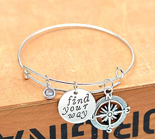Rurah Charm Bangle Bracelet Wire Adjustable Gift for Friends or Family,Style 3