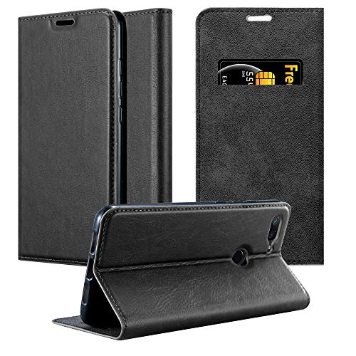 Cadorabo Book Case Works with Xiaomi Mi 8 Lite in Night Black - with Magnetic Closure, Stand Function and Card Slot - Wallet Etui Cover Pouch PU Leather Flip