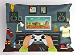 Lunarable Gamer Pillow Sham, Gaming Guy in His Flat with Diplomas Loud Speakers Boxing Gloves Jump Rope and Trophy, Decorative Standard Queen Size Printed Pillowcase, 30 X 20 inches, Multicolor