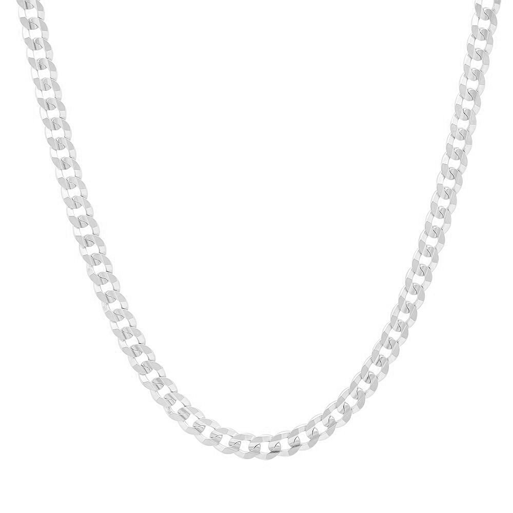 Men's 4mm Solid Sterling Silver .925 Curb Link Chain Necklace, Made in Italy  (24 Inches)
