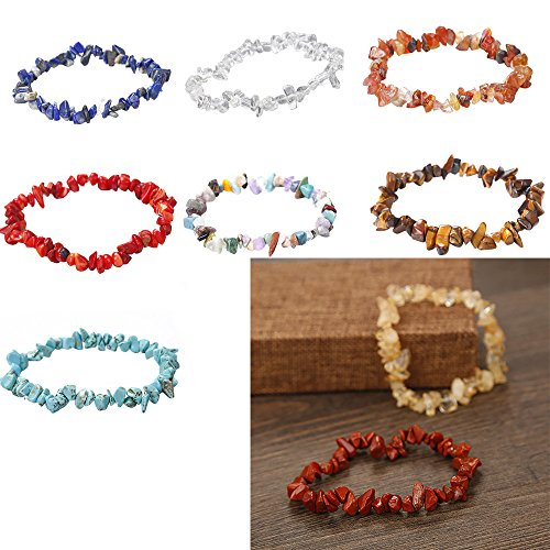 FIged Handmade 5-8mm Mixed Natural Gemstone Chip Beads Stretchy Bracelet Healing Reiki