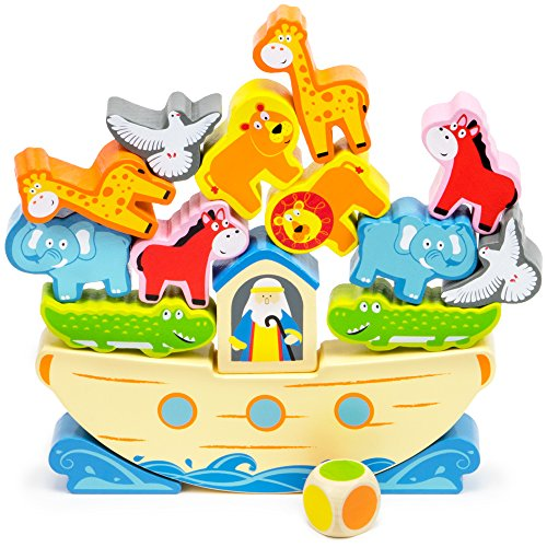 Noah's Balancing Ark Stacking Game, 17-Piece Block Balancing Play Set by Imagination - Game Boat Balancing