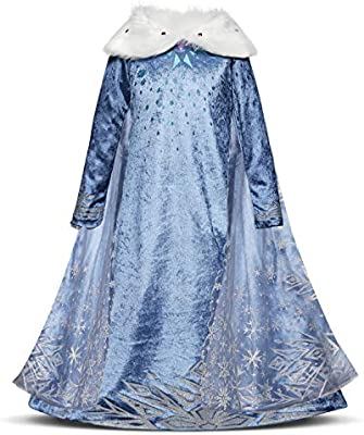 Elsa Princess Fancy Cosplay Dress Girls Winter Holidays Costume Party Dress Up