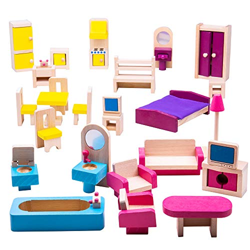 (Bigjigs Toys Heritage Playset Wooden Doll Furniture Set - 27 Pieces)