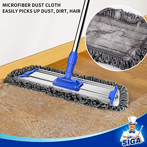 "MR.SIGA 18"" Professional Microfiber Mop for Floor Cleaning, Stainless Steel Telescopic Handle, Includes 2 Washable Premium Microfiber Mop Pads, 1 Scrub Cloth and 1 Dust Cloth"