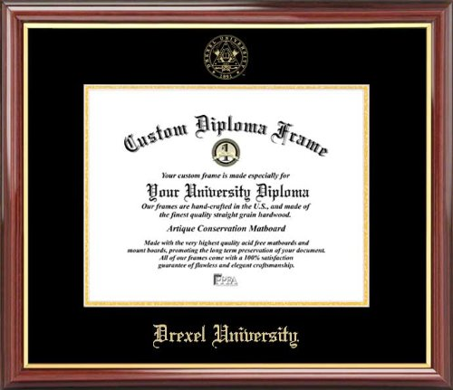 Drexel University Dragons   Embossed Seal   Mahogany Gold Trim   Diploma Frame