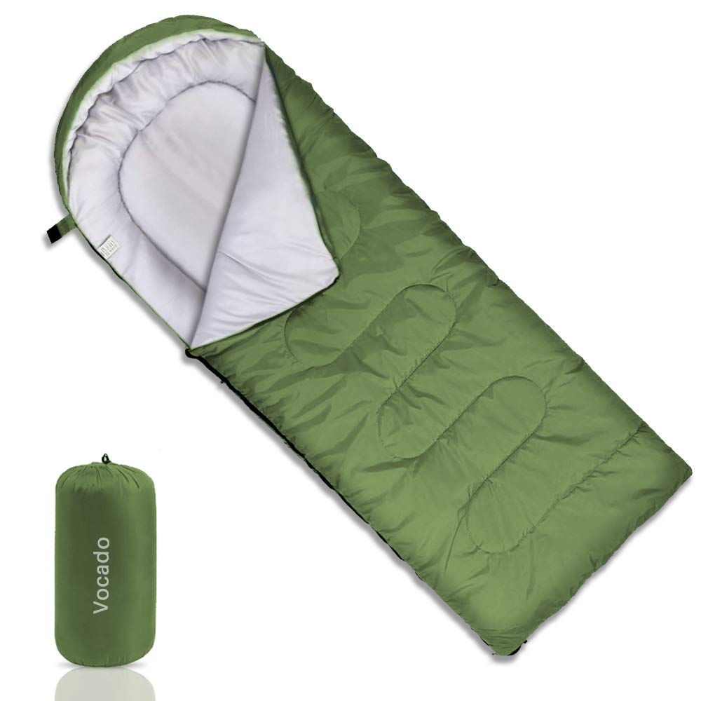 Vocado Sleeping Bag, Double Envelope Sleeping Bag, Indoor Outdoor Use, Portable, Lightweight and Compact Sleeping Bags for Kids, Adults, Teens, 3-4 Seasons Camping, Hiking, Traveling, Backpacking
